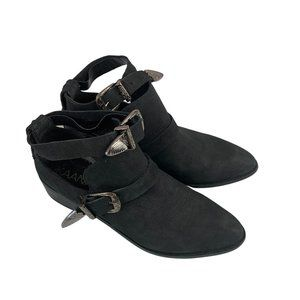 KAANAS | Black Ankle Strap Flat Boot Size 8.5